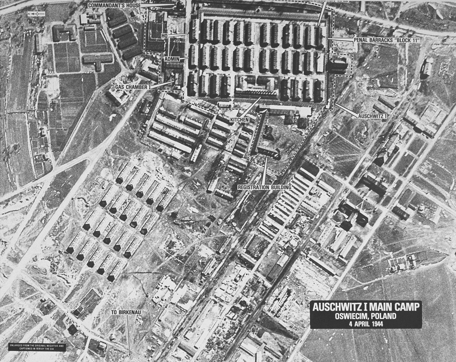 An aerial reconnaissance photograph of the Auschwitz concentration camp showing the Auschwitz I camp.