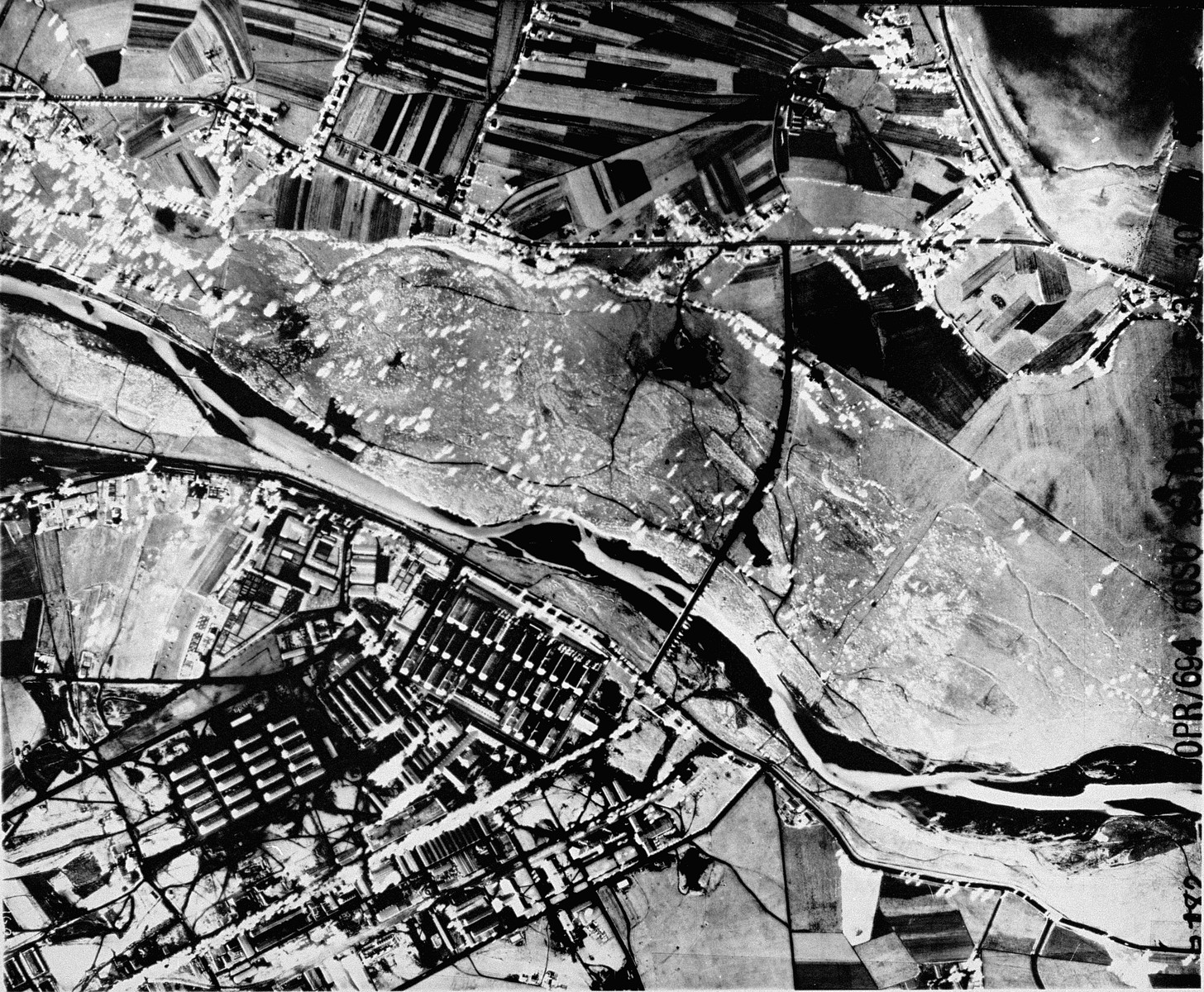 An aerial reconnaissance photograph of  Auschwitz I showing the administrative and living areas.