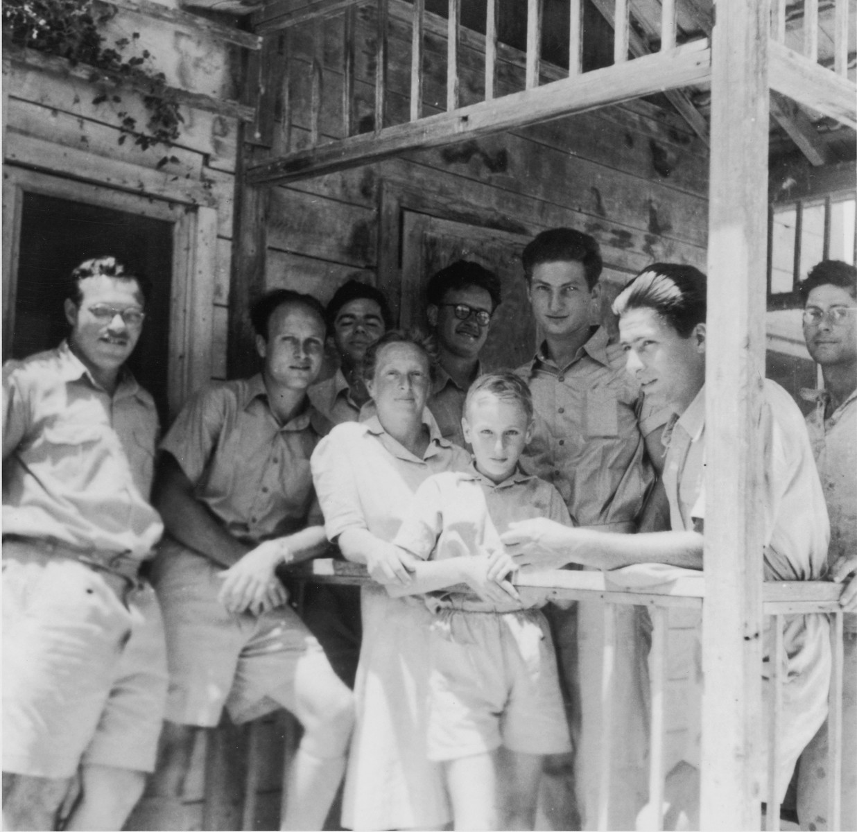 Exodus 1947 crew member Bernard Marks (third from the right) poses with a group of Palestinan Jews while in hiding at Kibbutz Ein Hashofet.