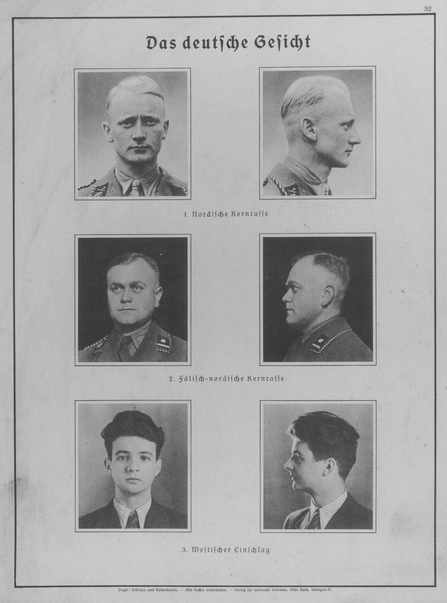 """Eugenics poster entitled """"The German Face.""""   The three categories of Aryan facial types are: 1. Nordic racial core; 2. Falian-Nordic racial core; 3. Western influence  This poster is no.52 in a series entitled, """"Erblehre und Rassenkunde"""" (Theory of Inheritance and Racial Hygiene), published by the Verlag für nationale Literatur (Publisher for National Literature), Stuttgart."""