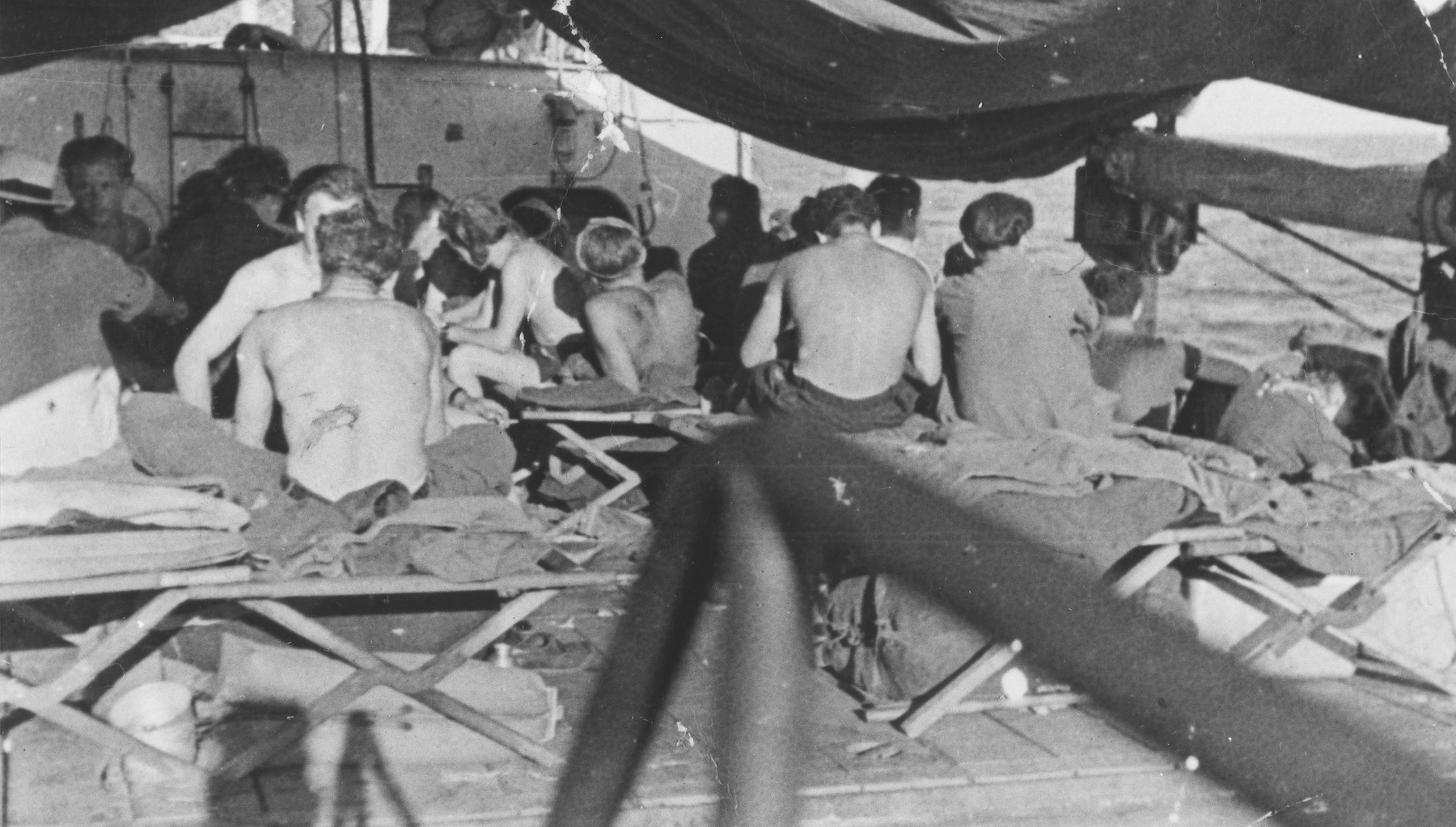 Jewish DPs in the passenger hold of the Na'ama immigrant ship which is sailing to Israel.