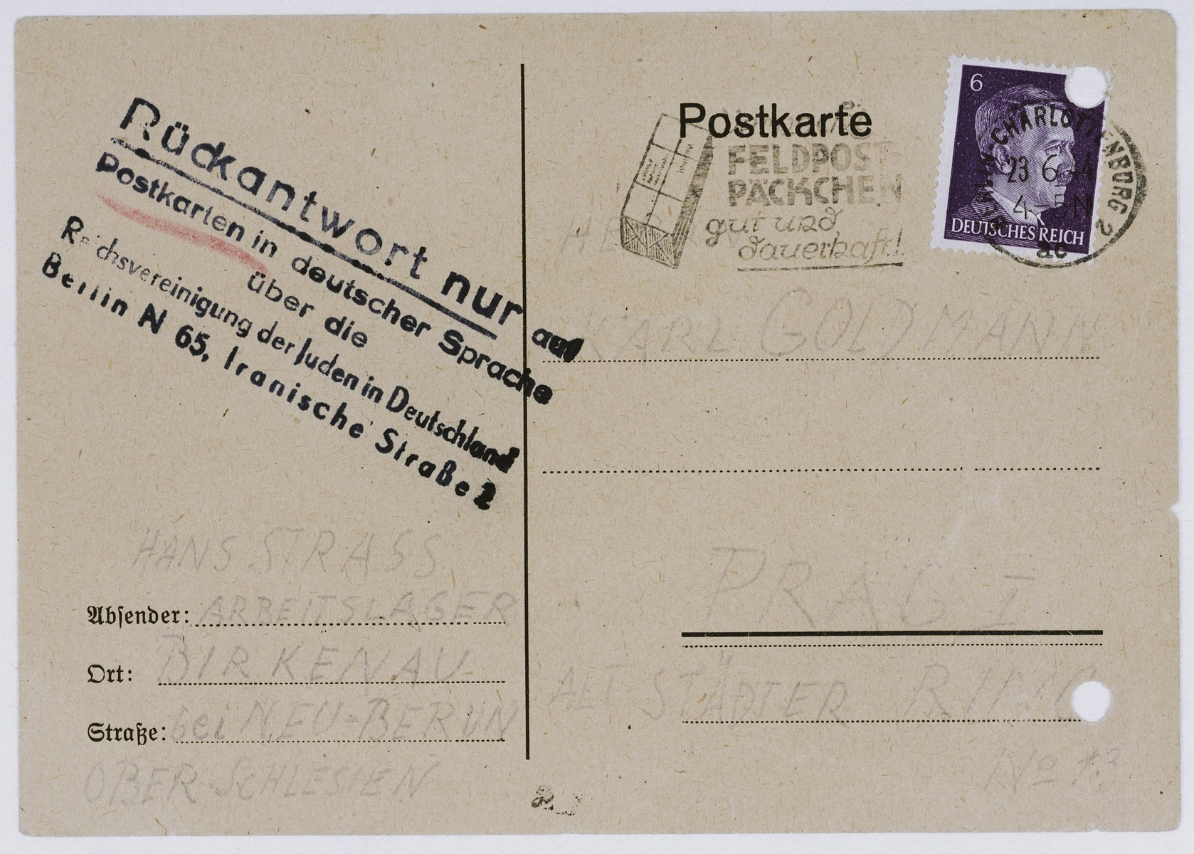 Postcard sent by a new arrival to Auschwitz to a relative in Theresienstadt reassuring him that everything was fine.  Some inmates were forced to write these cards to maintain the deception that deportations to Auschwitz signified nothing dangerous.