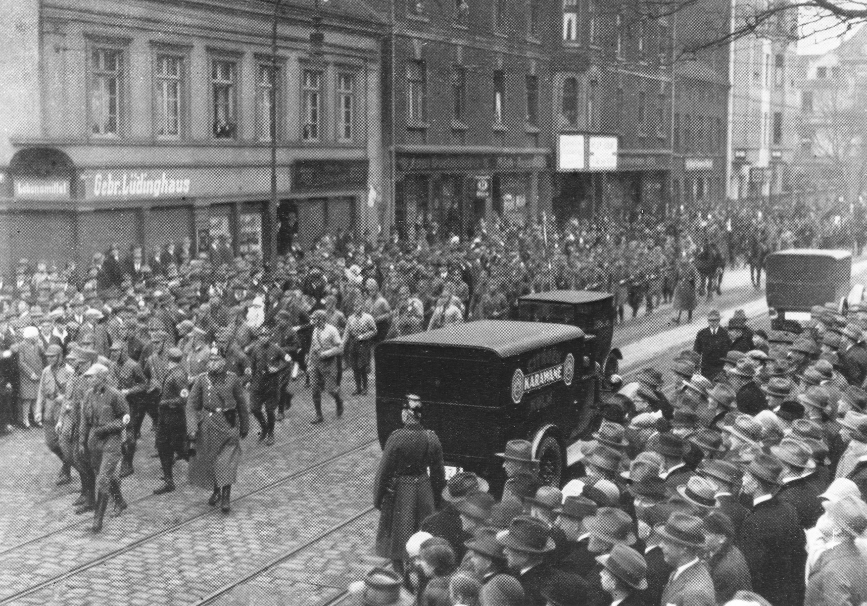 An SA march in a German city before the Nazi seizure of power.