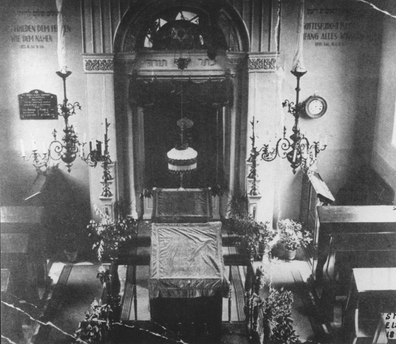 View of the sanctuary of the synagogue in Elsdorf, Germany before its destruction on Kristallnacht.