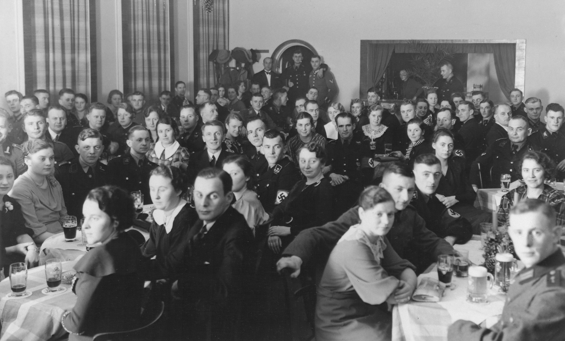 A social gathering at the Hitler Jugend Heim (Hitler Youth home) in Poessneck.
