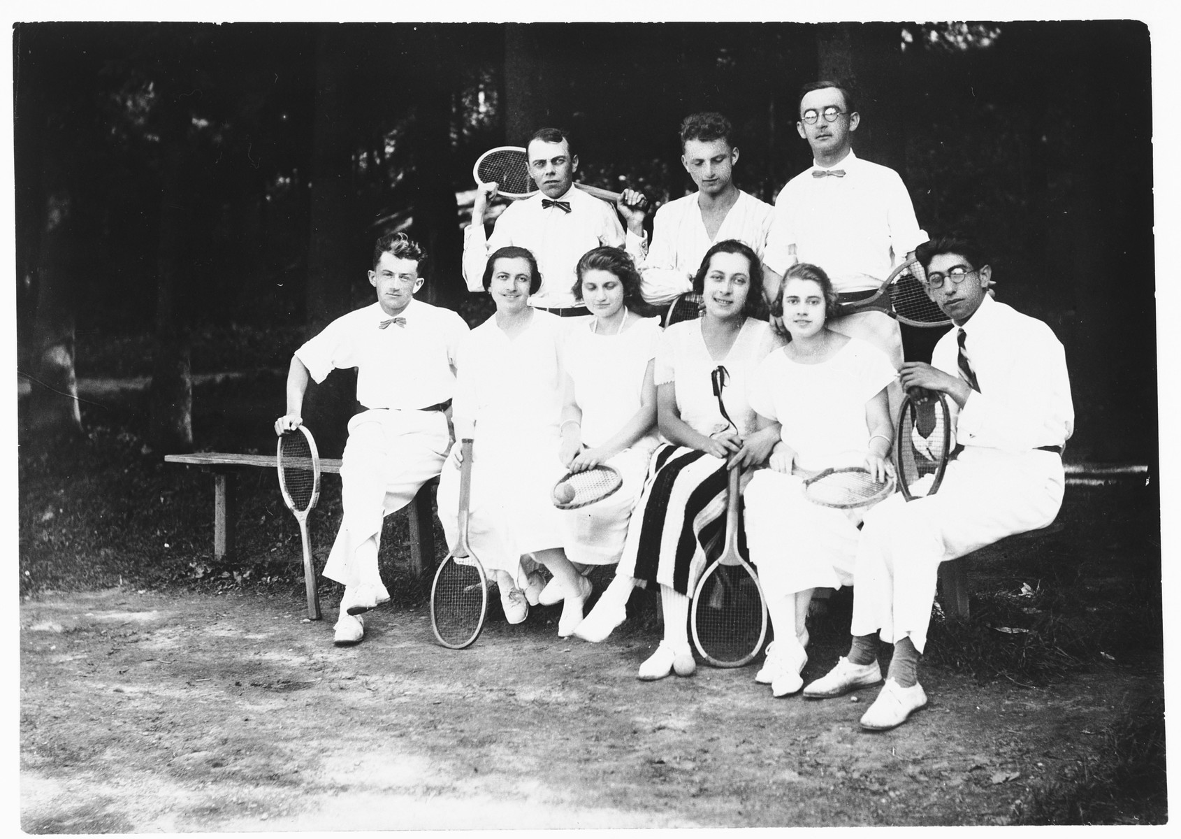 Group portrait of young Jewish and non-Jewish members of a tennis club in Ludbreg, Croatia.  Among those pictured are Giza Deutsch (front row, second from the left) and her future husband, Ljudevit (Ludva) Vrancic (behind her).