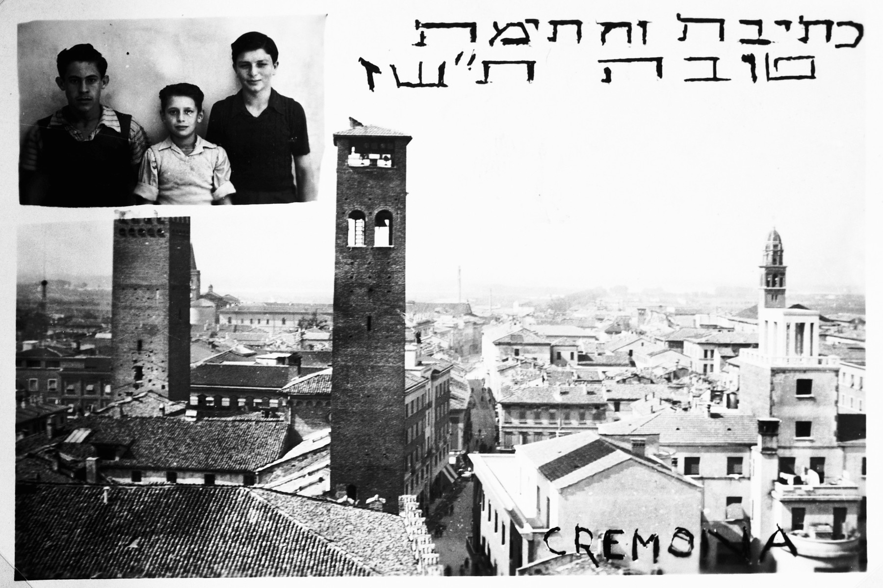 Jewish New Year's card from Cremona with a photograph of three boys in the upper corner.  Pictured in the center is Shie Zoltak.  On the sides are the Fajersztajns.