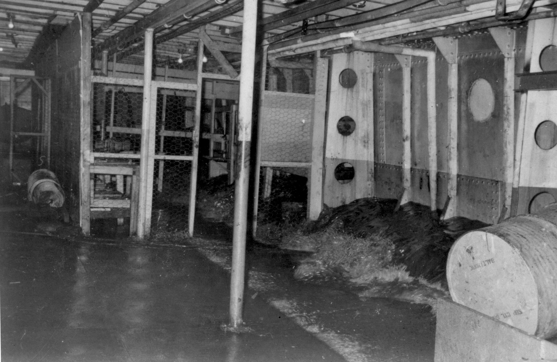 View of the flooded hold of the President Warfield after the gale that nearly sank the ship during its first attempt to cross the Atlantic Ocean.