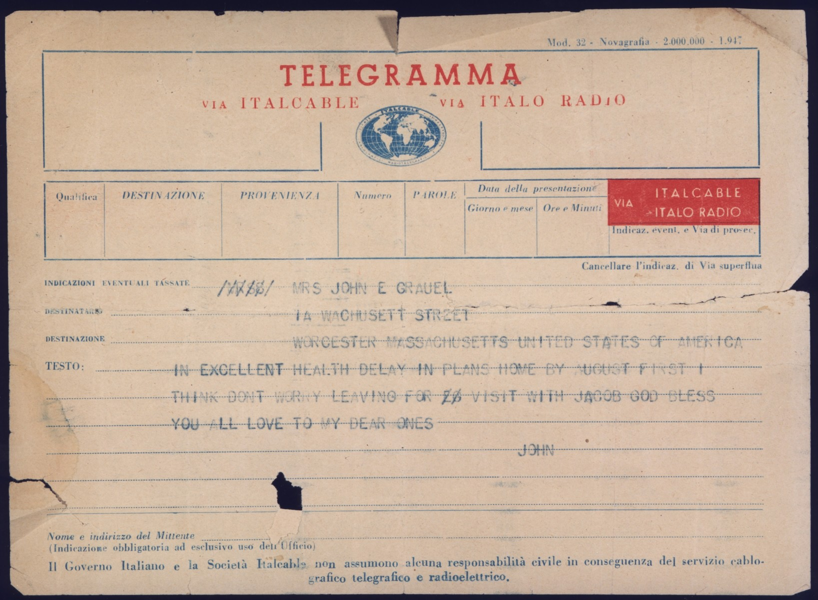 Telegram sent by John Stanley Grauel, crew member of the President Warfield/Exodus 1947, to his family in the United States, during a layover in Italy before the ship took on its cargo of Jewish DPs and left for Palestine.