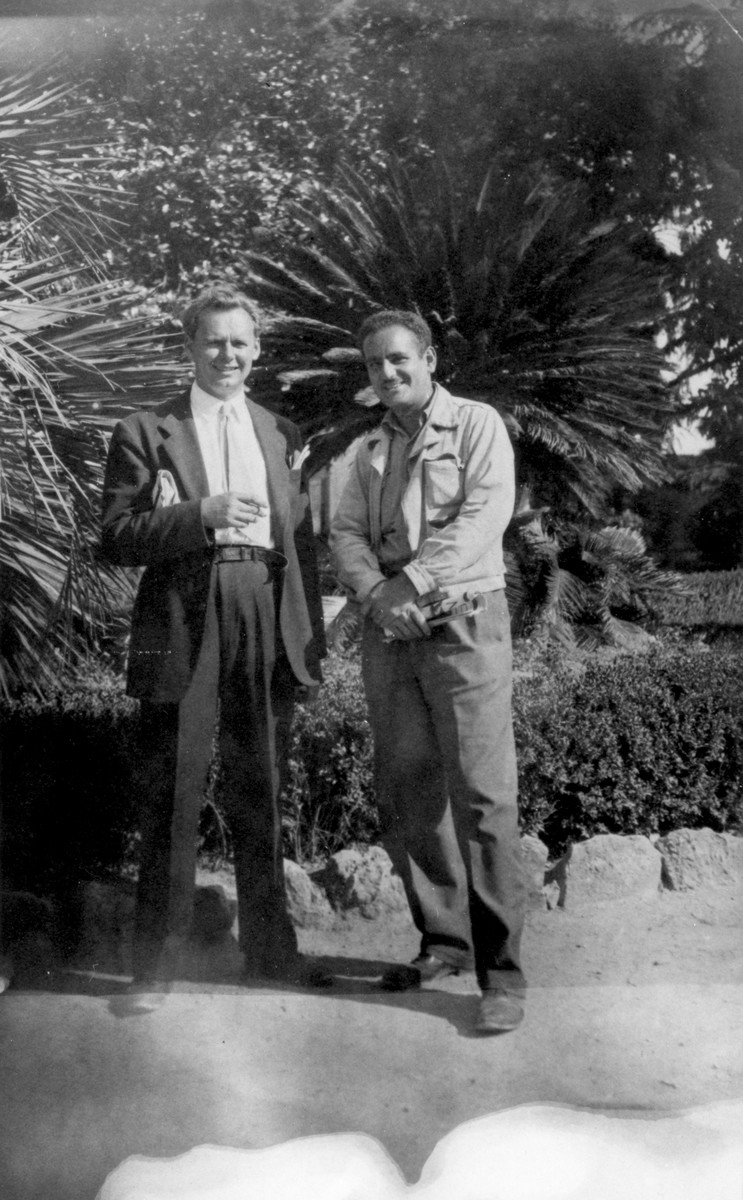 Two crew members of the President Warfield (later the Exodus 1947) pose outside during a layover in Italy before the ship took on its Jewish DP passengers and sailed for Palestine.  Pictured are John Stanley Grauel (left) and Eli Kalm (right).