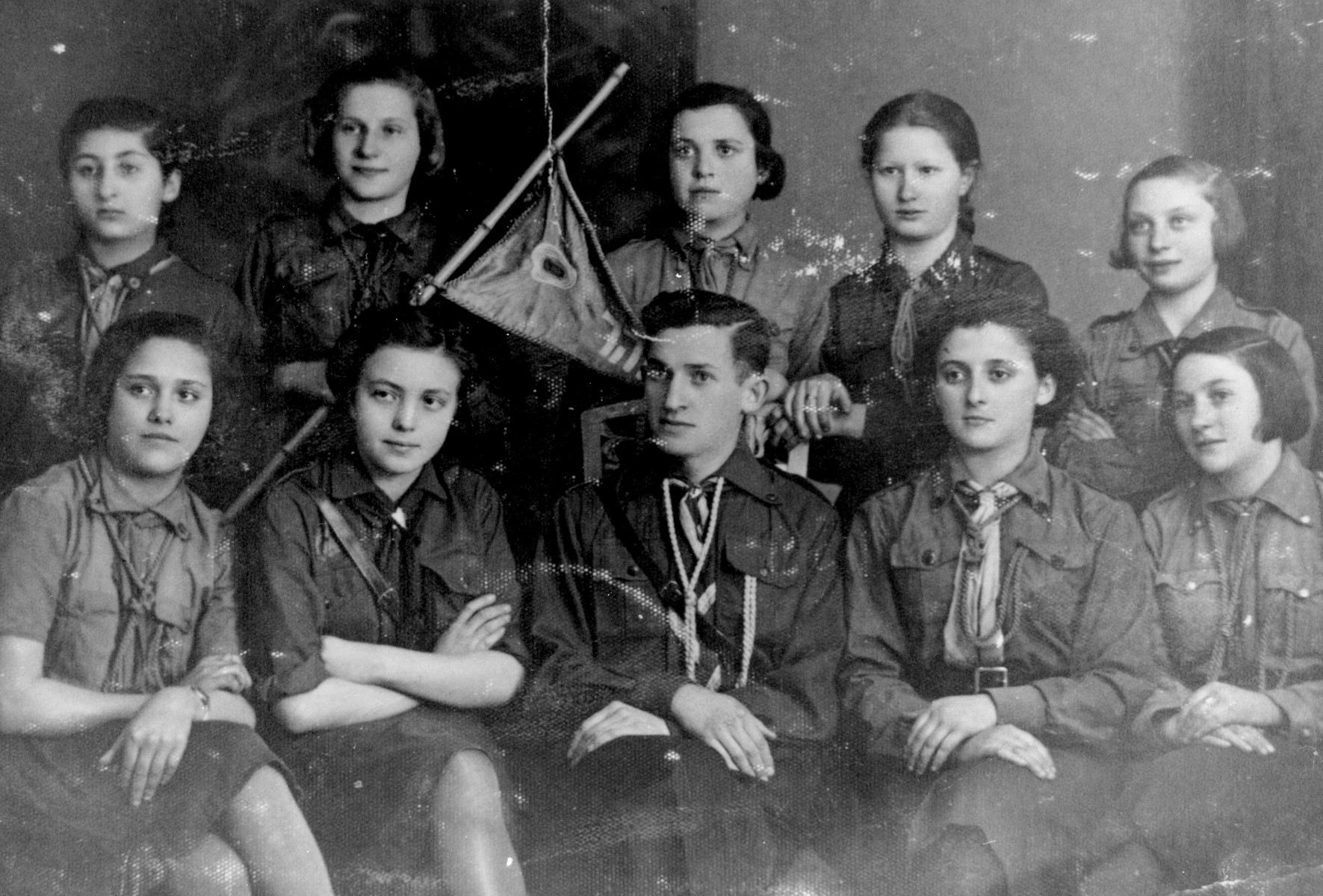Group portrait of members of the Betar revisionist Zionist youth movement in Bedzin, Poland.