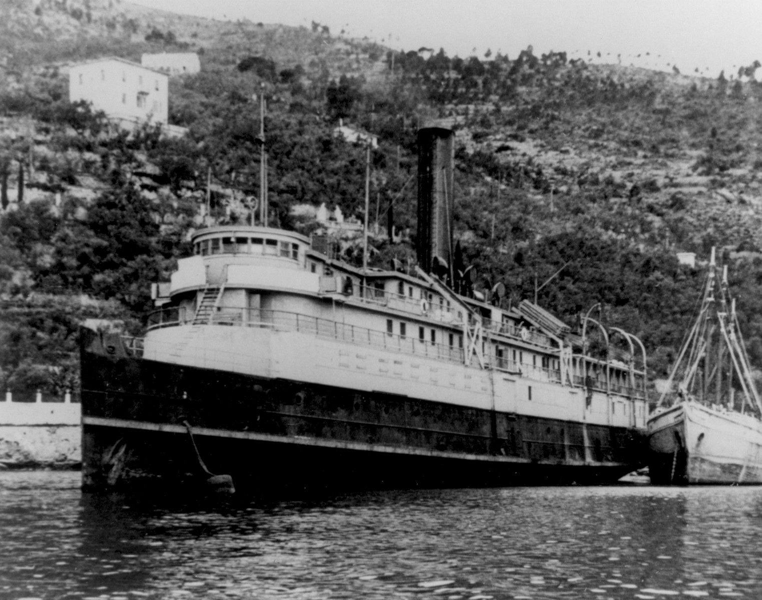 View of the illegal immigrant ship, the President Warfield/Exodus 1947, docked at Port-de-Bouc, France, prior to its voyage to Palestine.