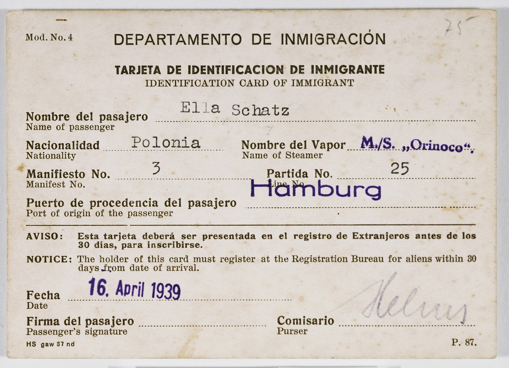 Cuban immigration papers issued to Ella Schatz, a passenger on board the Orinoco.