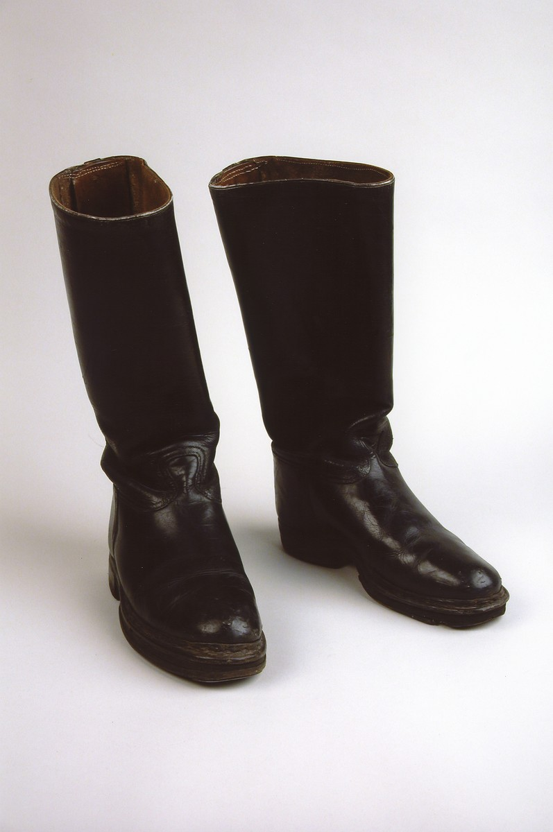 A pair of boots worn by a female Jewish prisoner in the Plaszow and Auschwitz concentration camps, as well as on a death march.  The boots belonged to Ala Brand.