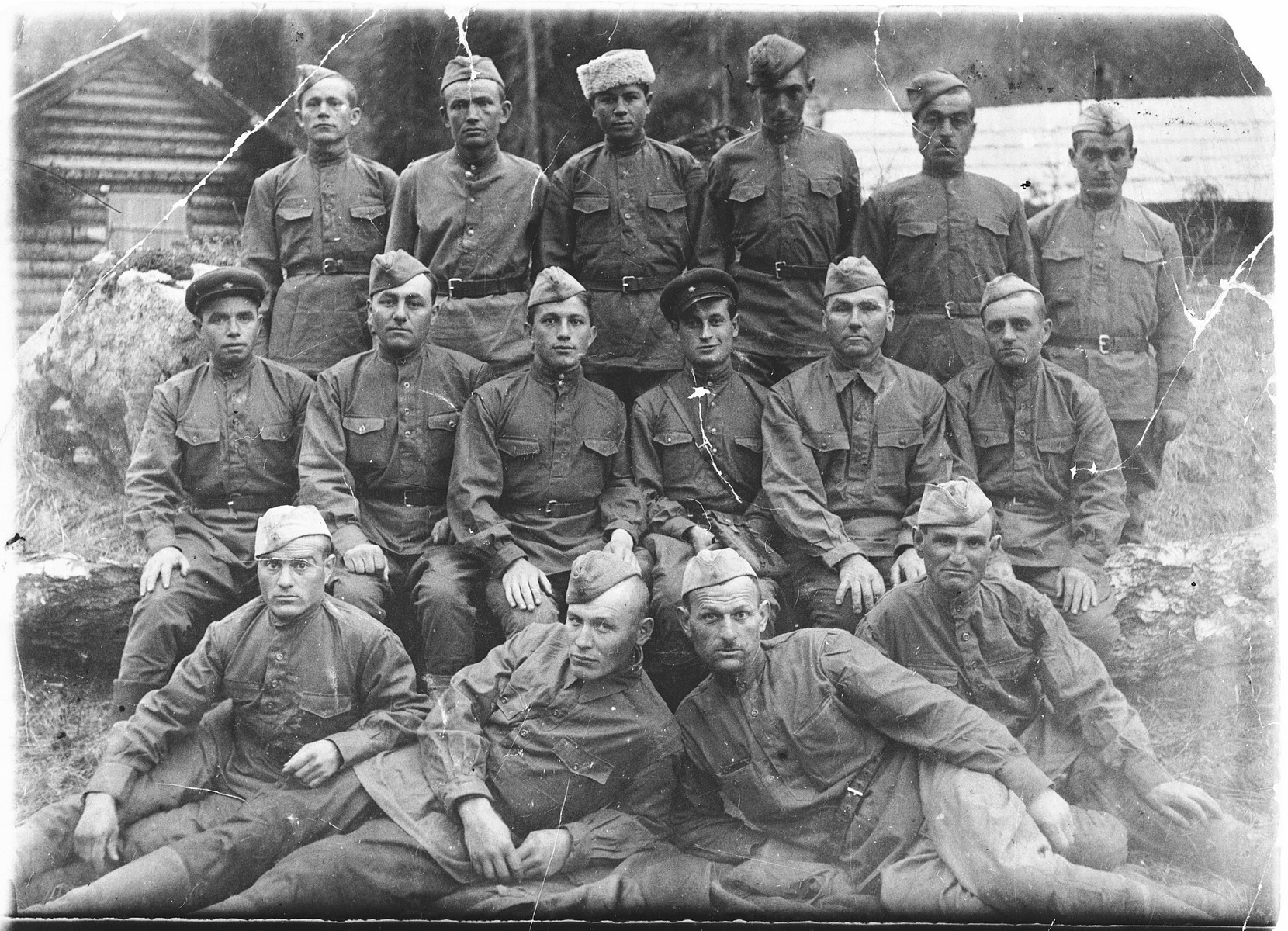 Group portrait of Soviet soldiers.  Among those pictured is Shlomo Rachmil (second row, third from the right).