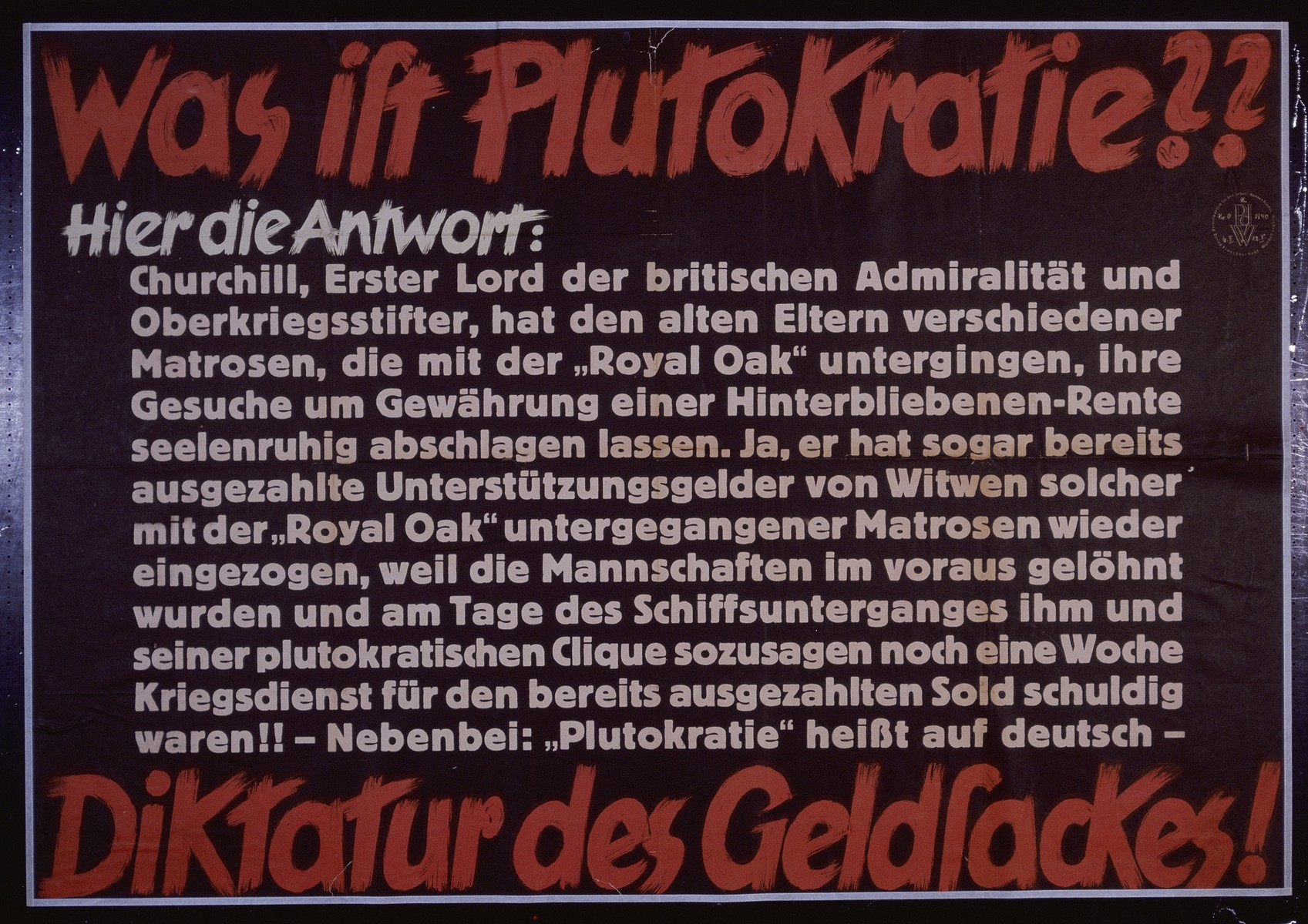 """Nazi propaganda poster entitled, """"Was ist Plutokratie?""""  issued by the """"Parole der Woche,"""" a wall newspaper (Wandzeitung) published by the National Socialist Party propaganda office in Munich."""