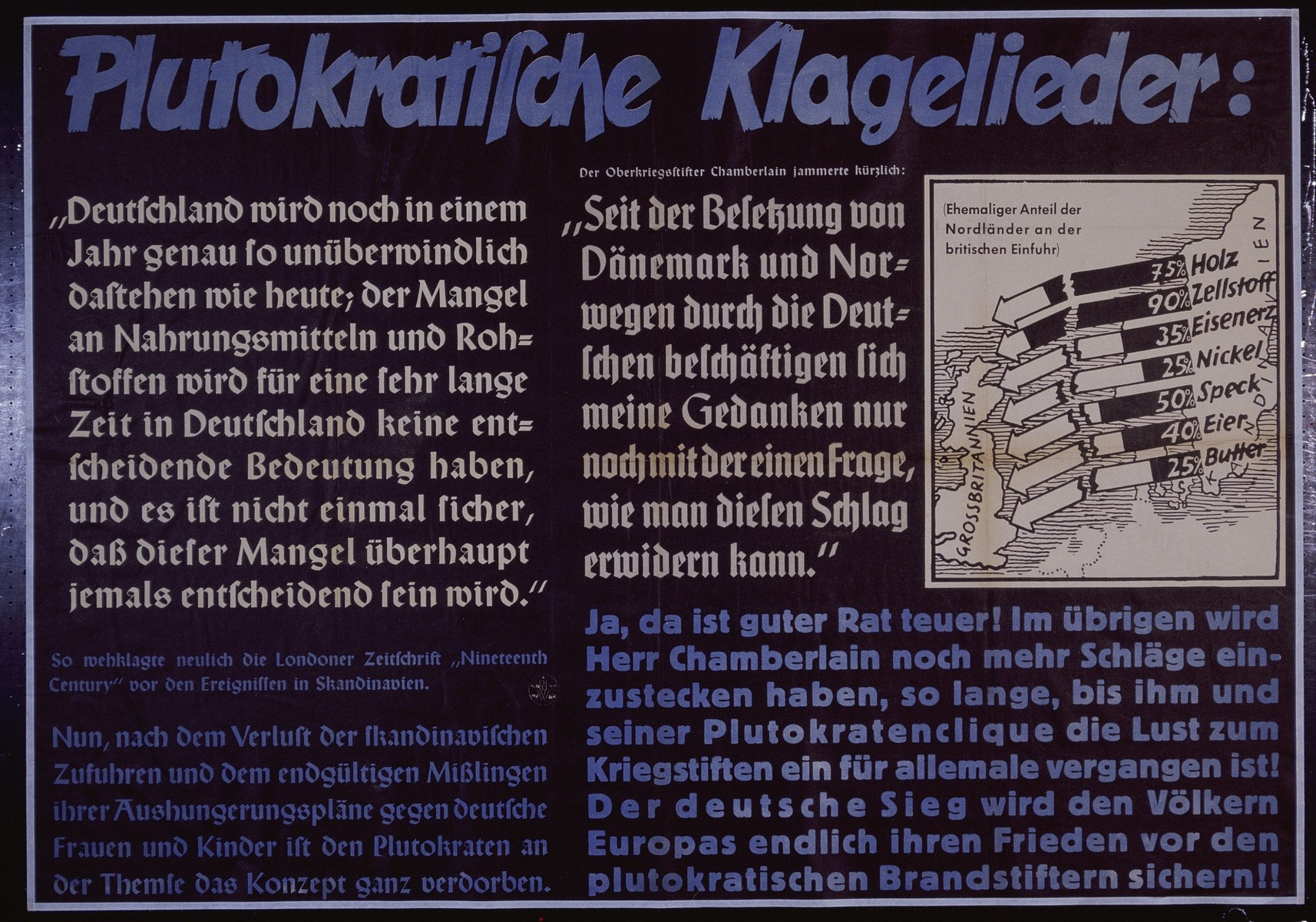 "Nazi propaganda poster entitled, ""Plutokratische Klagelieder,""  issued by the ""Parole der Woche,"" a wall newspaper (Wandzeitung) published by the National Socialist Party propaganda office in Munich."