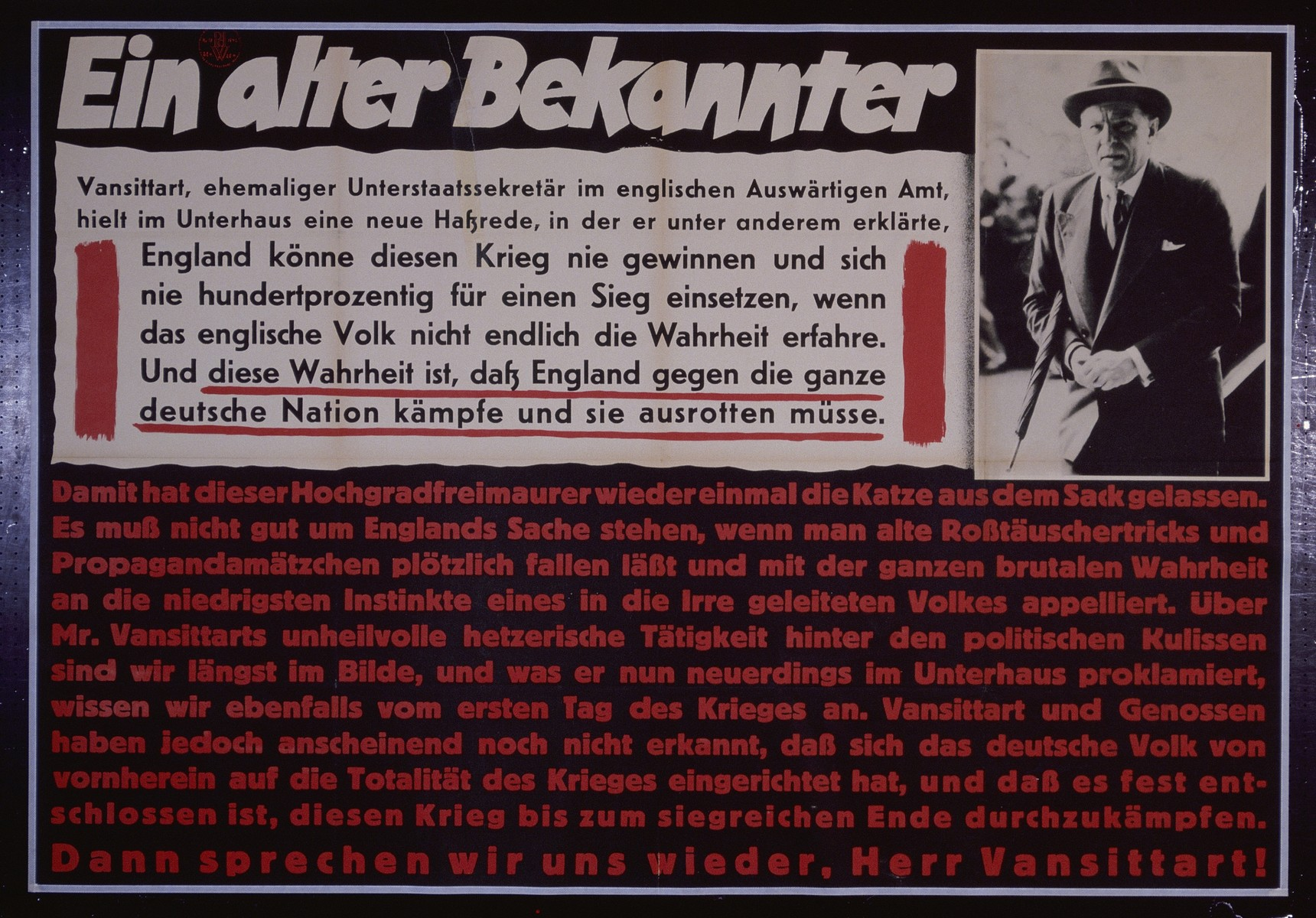 """Nazi propaganda poster entitled, """"Ein alter Bekannter,"""" issued by the """"Parole der Woche,"""" a wall newspaper (Wandzeitung) published by the National Socialist Party propaganda office in Munich."""