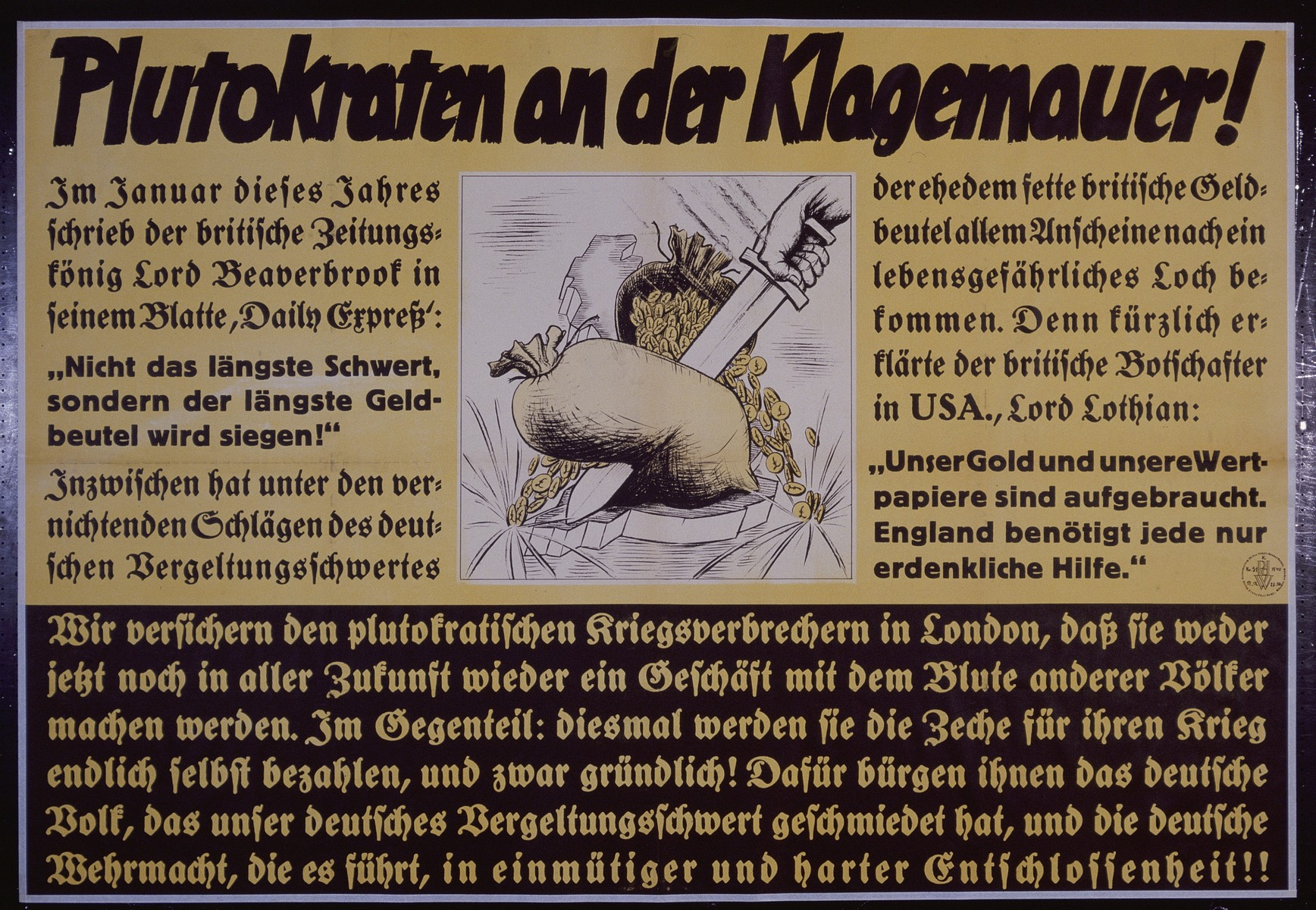 """Nazi propaganda poster entitled, """"Plutokraten an der Klagemauer,"""" issued by the """"Parole der Woche,"""" a wall newspaper (Wandzeitung) published by the National Socialist Party propaganda office in Munich."""