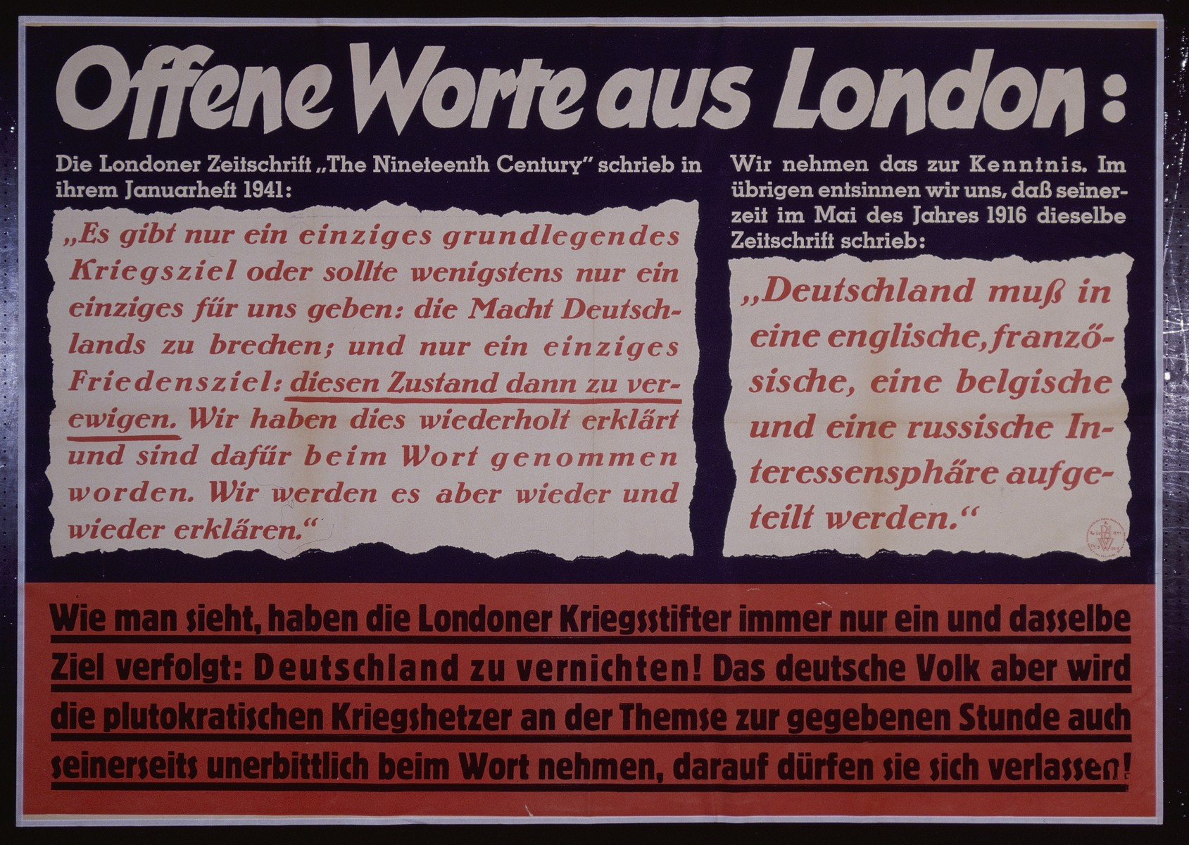 """Nazi propaganda poster entitled, """"Offene Worte aus London:,"""" issued by the """"Parole der Woche,"""" a wall newspaper (Wandzeitung) published by the National Socialist Party propaganda office in Munich."""