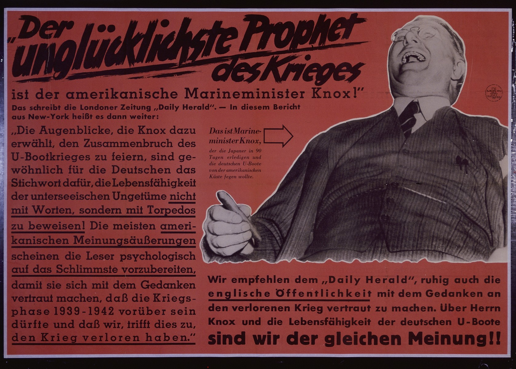"""Nazi propaganda poster entitled, """"Der unglucklichste Prophet des Krieges,""""  issued by the """"Parole der Woche,"""" a wall newspaper (Wandzeitung) published by the National Socialist Party propaganda office in Munich."""
