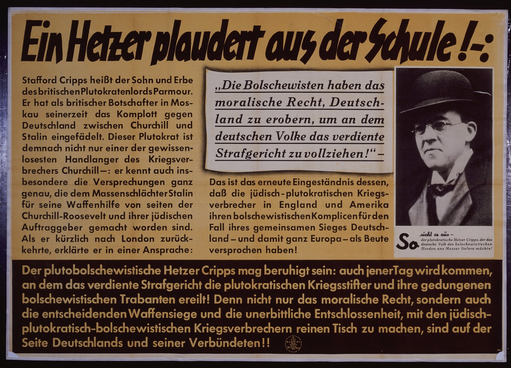 "Nazi propaganda poster entitled, ""Ein Hetzer plaudert aus der Schule!"" issued by the ""Parole der Woche,"" a wall newspaper (Wandzeitung) published by the National Socialist Party propaganda office in Munich."