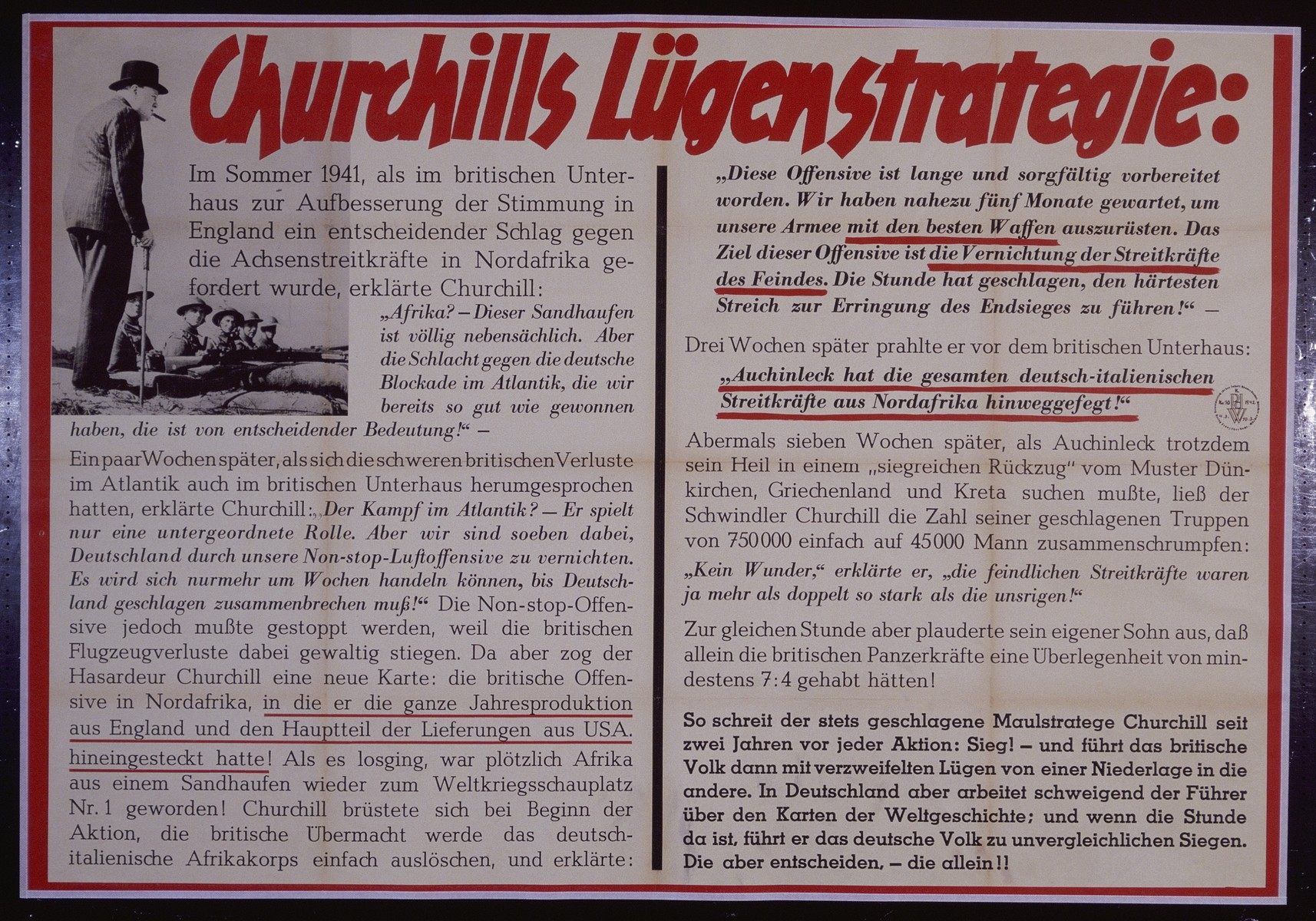 """Nazi propaganda poster entitled, """"Churchills Lugenstrategie,"""" issued by the """"Parole der Woche,"""" a wall newspaper (Wandzeitung) published by the National Socialist Party propaganda office in Munich."""