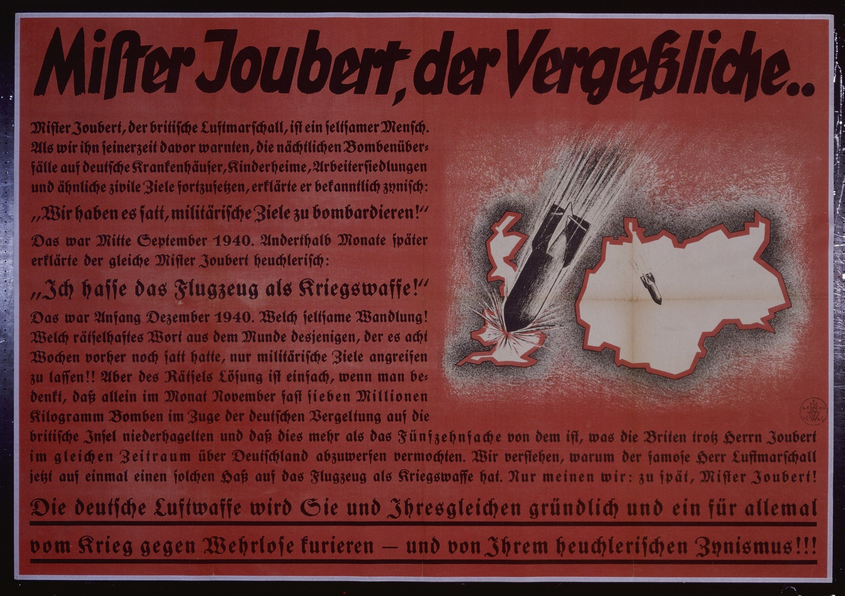 "Nazi propaganda poster entitled, ""Mister Joubert, der Vergebliche...,"" issued by the ""Parole der Woche,"" a wall newspaper (Wandzeitung) published by the National Socialist Party propaganda office in Munich."
