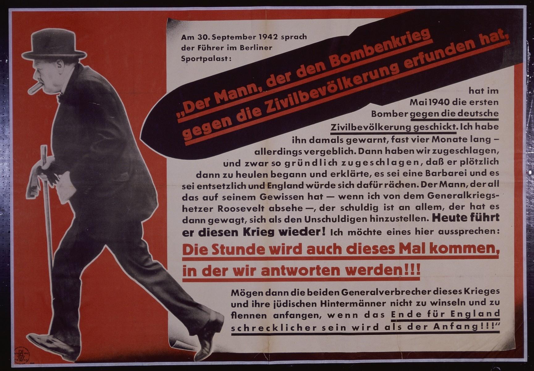 """Nazi propaganda poster entitled, """"Der Mann, der den Bombenkrieg gegen die Zivilbevolkerung erfunden hat,"""" issued by the """"Parole der Woche,"""" a wall newspaper (Wandzeitung) published by the National Socialist Party propaganda office in Munich."""