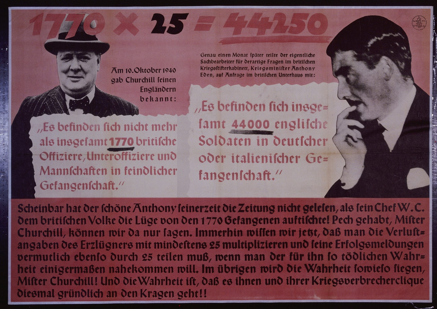 """Nazi propaganda poster entitled, """"1770 x 25 = 44250,"""" issued by the """"Parole der Woche,"""" a wall newspaper (Wandzeitung) published by the National Socialist Party propaganda office in Munich."""