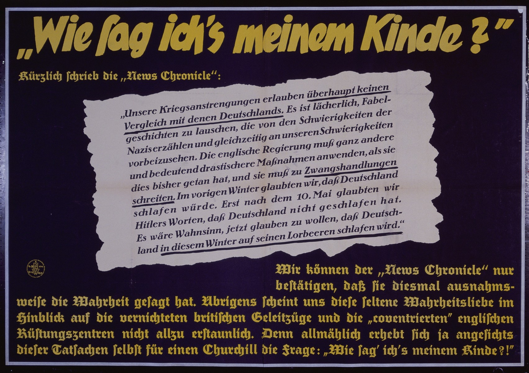 """Nazi propaganda poster entitled, """"Wie sag ich's meinem Kinde?""""  issued by the """"Parole der Woche,"""" a wall newspaper (Wandzeitung) published by the National Socialist Party propaganda office in Munich."""