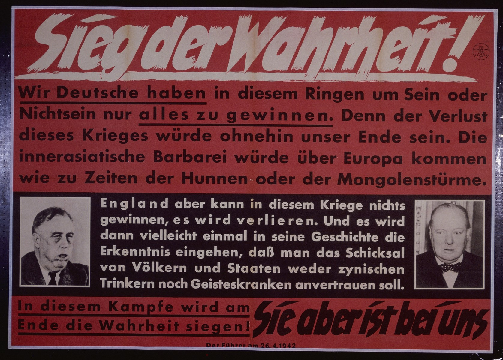 "Nazi propaganda poster entitled, ""Sieg der Wahrheit,""  issued by the ""Parole der Woche,"" a wall newspaper (Wandzeitung) published by the National Socialist Party propaganda office in Munich."