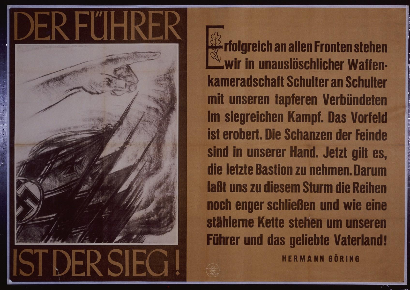 "Nazi propaganda poster entitled, ""Der Fuhrer ist der Sieg,"" issued by the ""Parole der Woche,"" a wall newspaper (Wandzeitung) published by the National Socialist Party propaganda office in Munich."