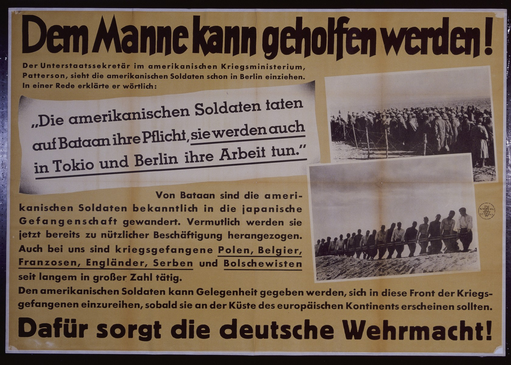 "Nazi propaganda poster entitled, ""Dem Manne kann geholfen werden,"" issued by the ""Parole der Woche,"" a wall newspaper (Wandzeitung) published by the National Socialist Party propaganda office in Munich."