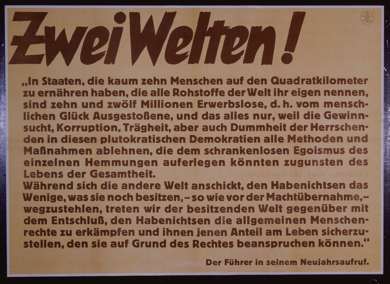 """Nazi propaganda poster entitled, """"Zwei Welten,"""" issued by the """"Parole der Woche,"""" a wall newspaper (Wandzeitung) published by the National Socialist Party propaganda office in Munich."""