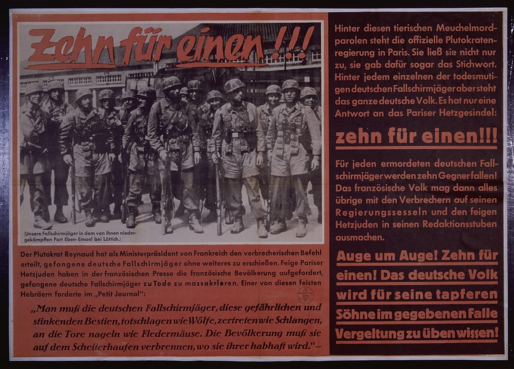 "Nazi propaganda poster entitled, ""Zehn fur einen,""  issued by the ""Parole der Woche,"" a wall newspaper (Wandzeitung) published by the National Socialist Party propaganda office in Munich."