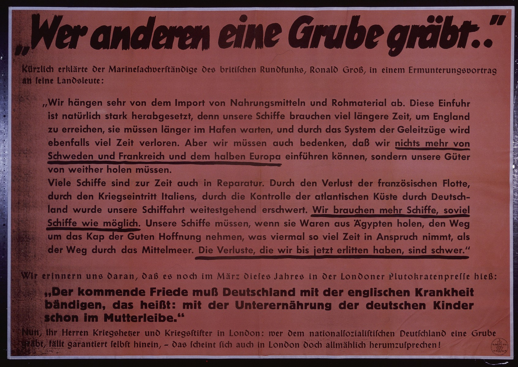 "Nazi propaganda poster entitled, ""Wer anderen eine Grube grabt,"" issued by the ""Parole der Woche,"" a wall newspaper (Wandzeitung) published by the National Socialist Party propaganda office in Munich."