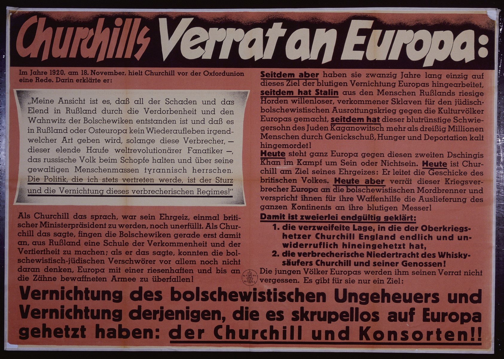 """Nazi propaganda poster entitled, """"Churchills Verrat an Europa,""""  issued by the """"Parole der Woche,"""" a wall newspaper (Wandzeitung) published by the National Socialist Party propaganda office in Munich."""