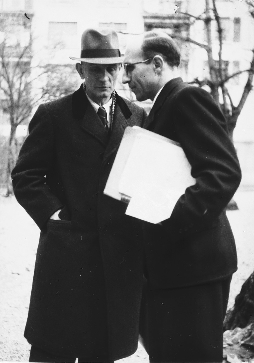Pastor Martin Niemoeller (left) converses with his friend, the Swiss clergyman, Charles Brutsch.