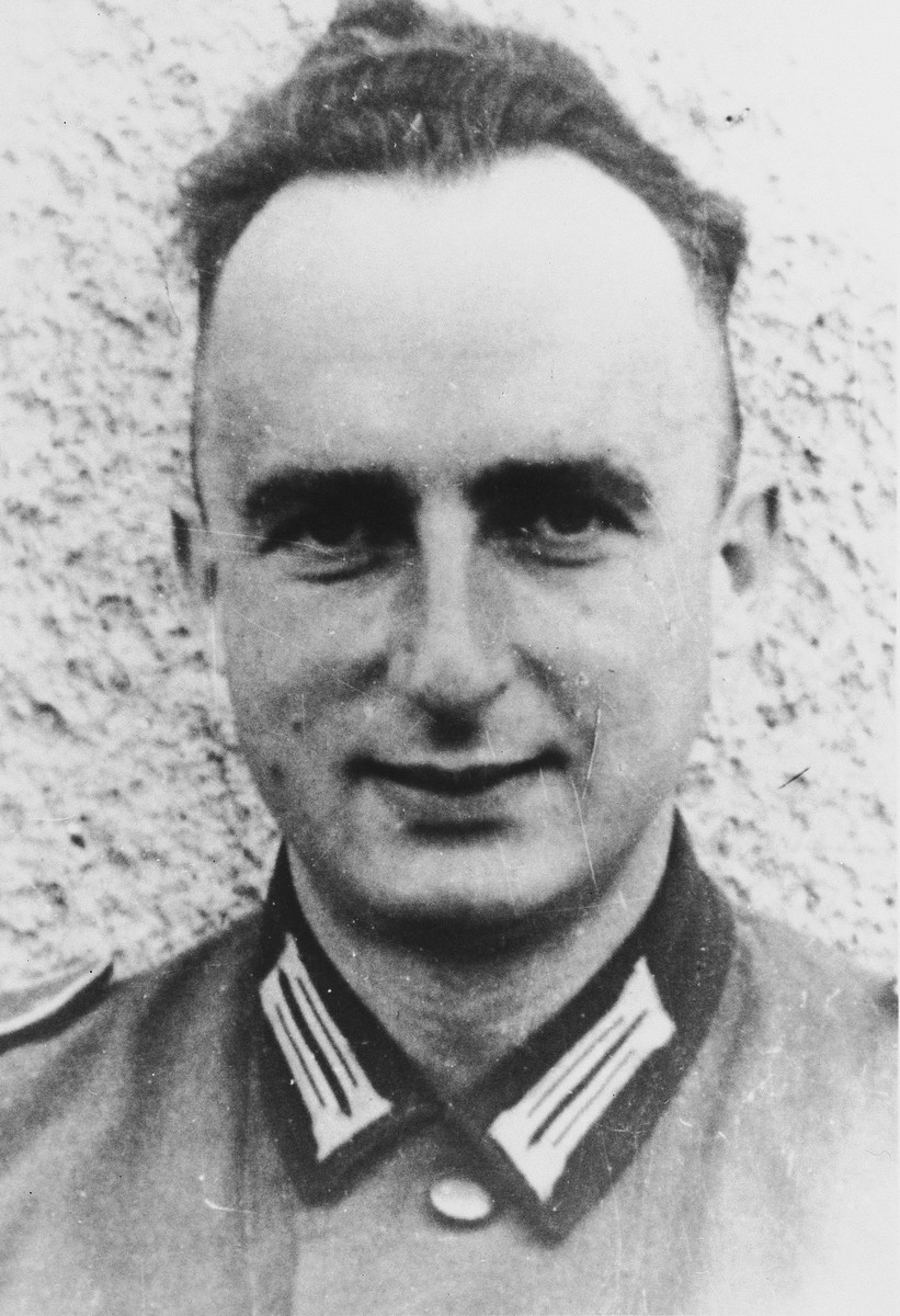 Close-up portrait of Janos Glaser, a Jewish-Communist political prisoner, who was released from prison to fight in the 999 Punishment Battalion.  He died of injuries sustained in the Western Theater in April 1945.