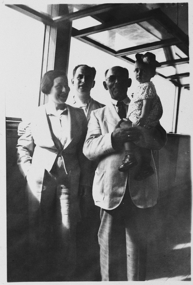 A German-Jewish refugee family poses on board the MS St. Louis.  From left to right are Irmgard, Josef, Jakob and Judith Koeppel.