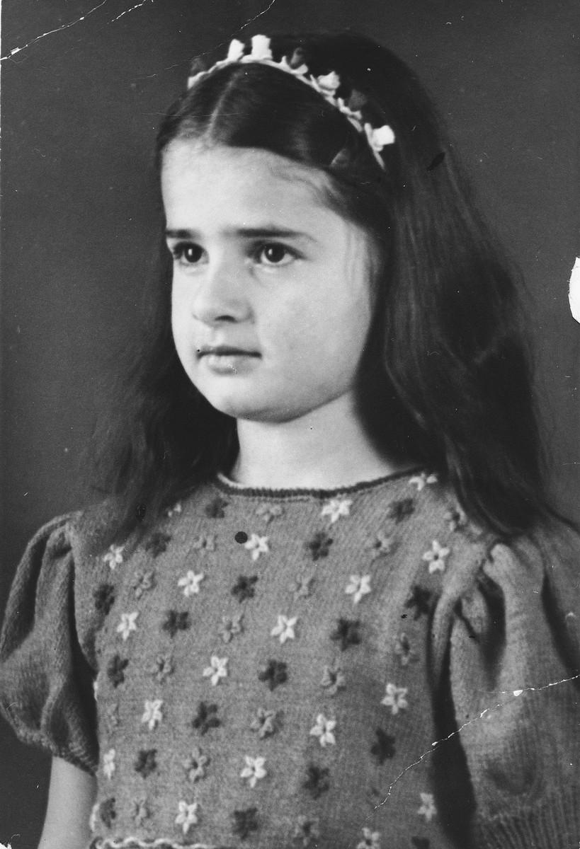 Studio portrait of Sylvia Glaser, a German girl with Jewish ancestry.