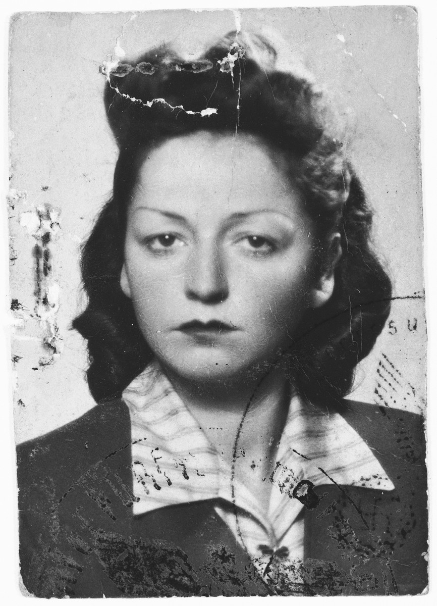 Identification photo from Genia Tola Wasserman's Ausweis which permitted her to work outside the ghetto.