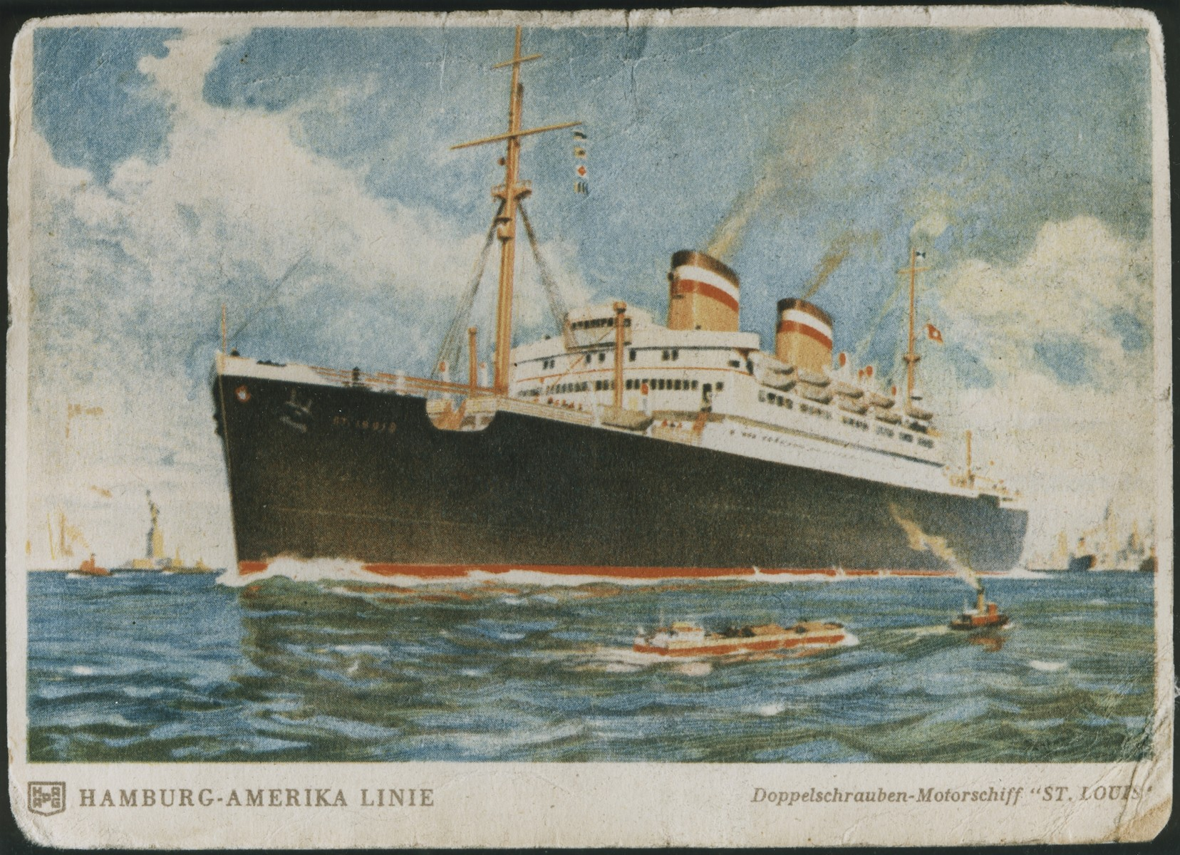 Picture postcard of the MS St. Louis.