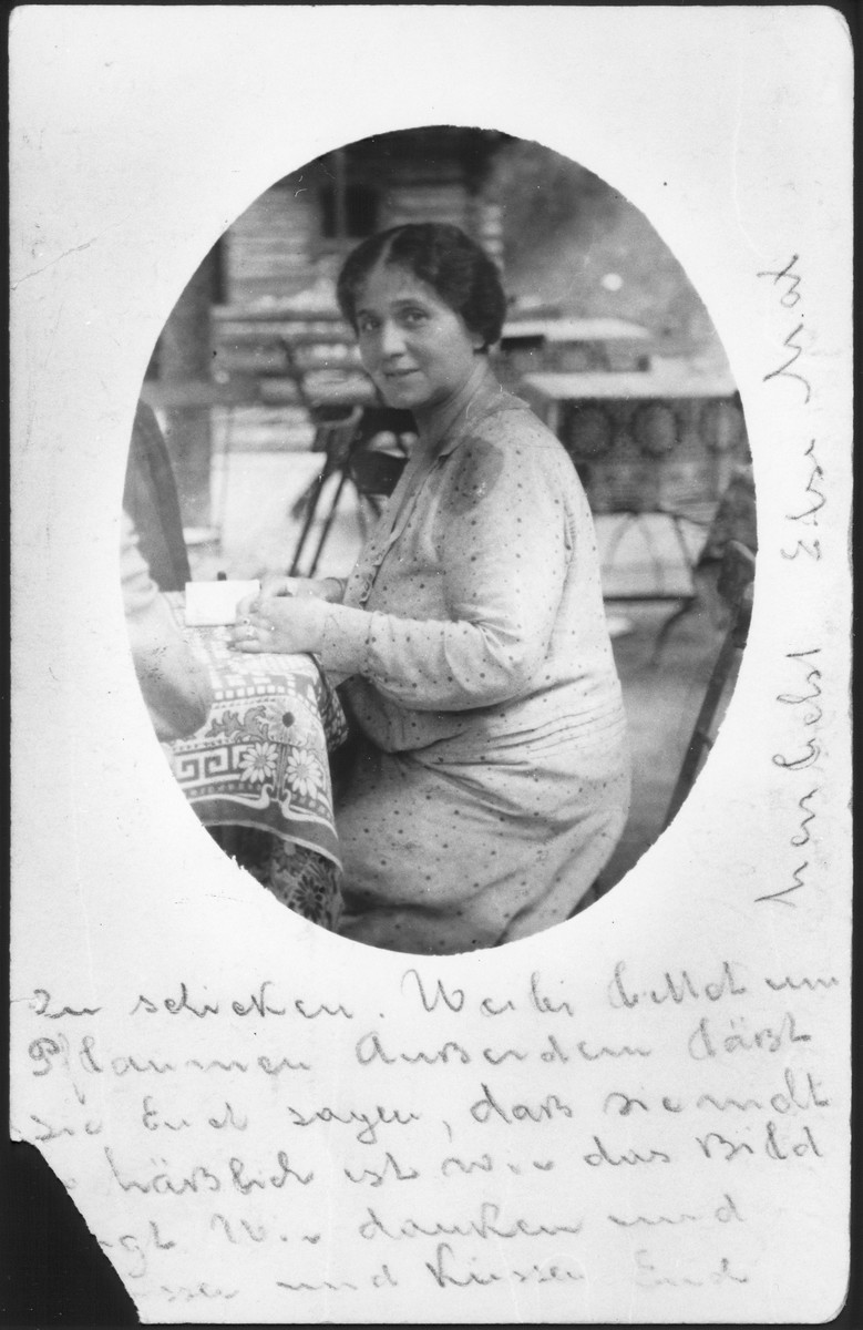 Portrait of Else Chankin on vacation in Bad Gastein.   The photo was sent as a postcard to her brother-in-law, Jacob Chankin, in Berlin.  Else was the wife of Jewish opera singer Max Chankin from Osijek, Croatia and a relative of the donor.