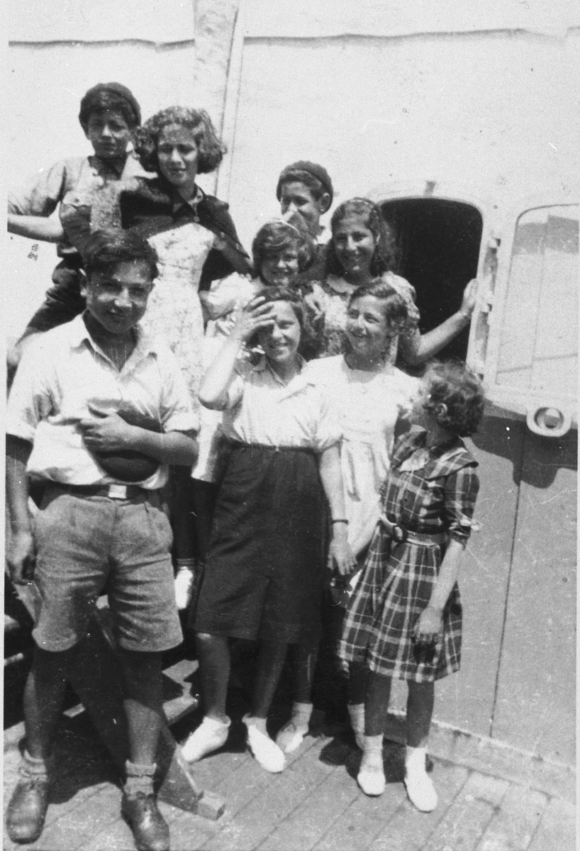Children on the deck of the Mouzinho en route to America.  Those pictured include Werner Dreifus, Eric Gruenbaum and Gertrude Pfferling.