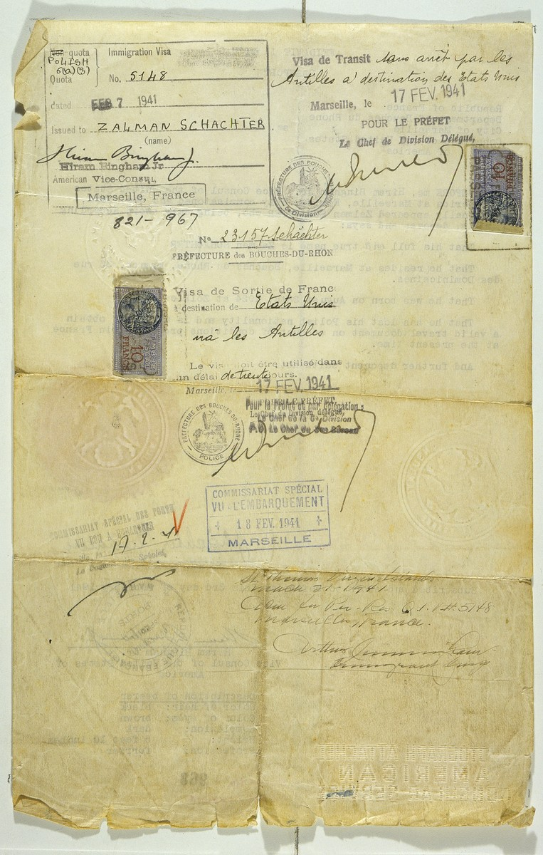 Affidavit in lieu of passport issued to Jewish refugee Salomon Schachter by Hiram Bingham, Vice Consul at the US consulate in Marseilles.