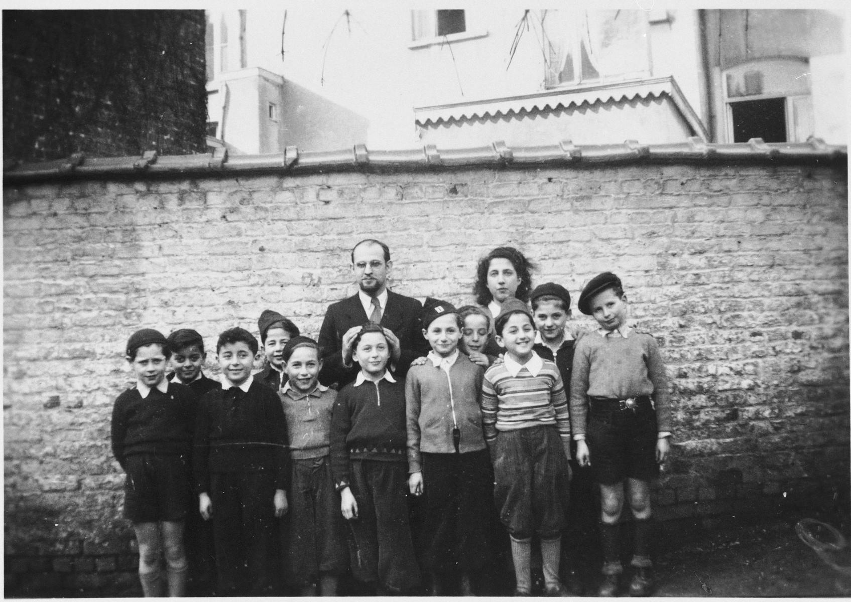 Group portrait of Jewish DP orphans at the Mariaburg children's home near Antwerp.