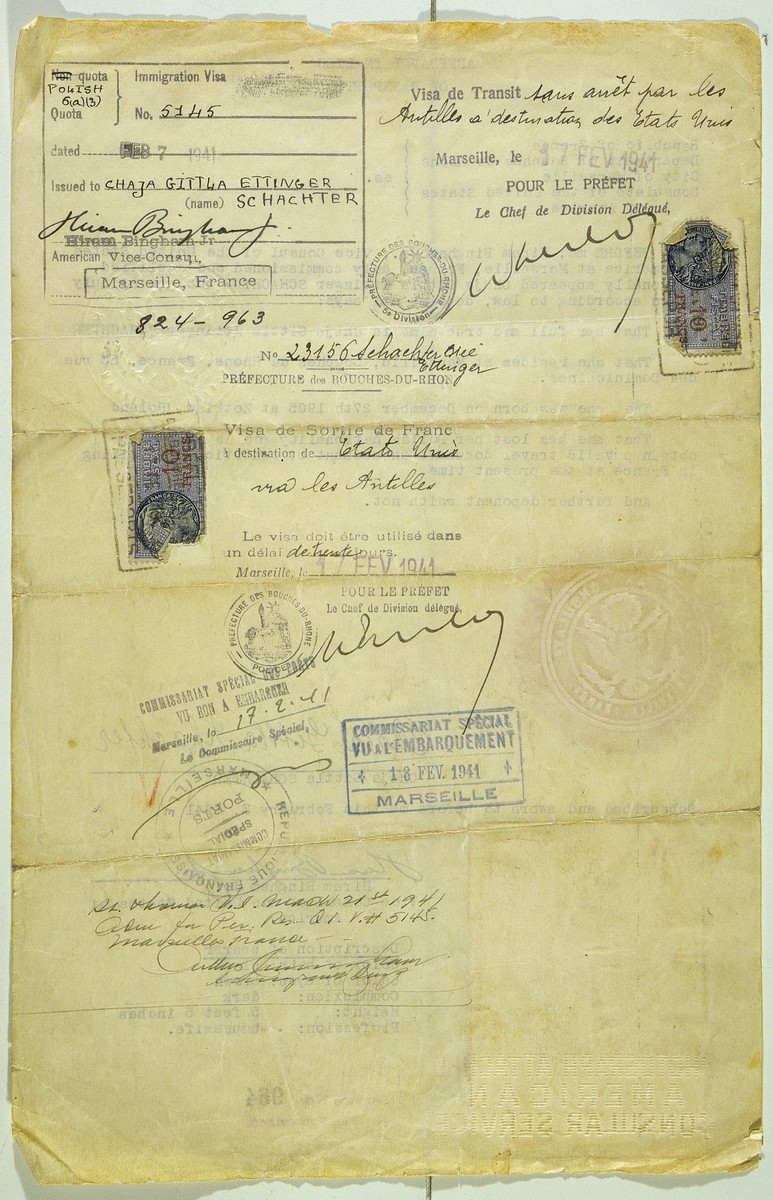 Affidavit in lieu of passport issued to Jewish refugee Chaja Schachter by Hiram Bingham, Vice Consul at the US consulate in Marseilles.