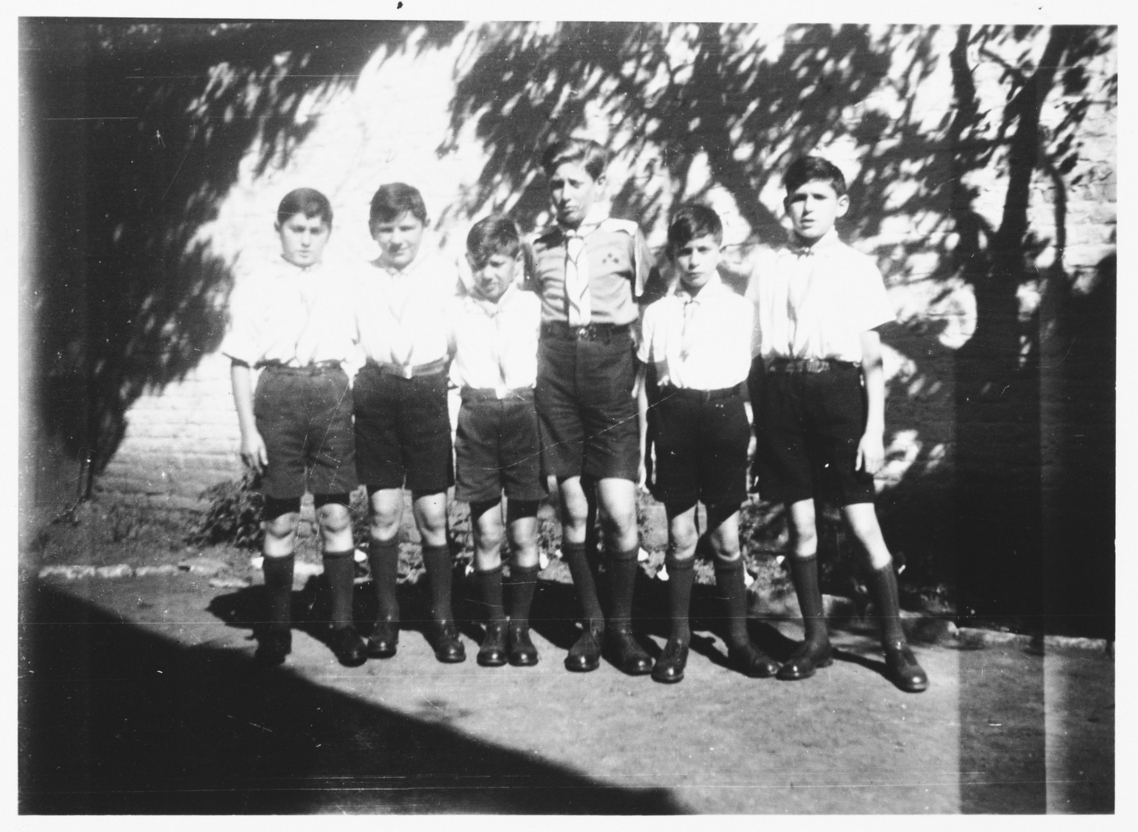 Group portrait of members of the Aryeh youth group at the Orphelinat Israelite de Bruxelles children's home of the rue des Patriotes.  Among those pictured are: Henri, Walter Mendler, Joseph Birnbaum, Joseph Amsel and David.